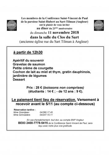 ssvp, saintvincentdepaul, cramignon, octobre, souper solidaire, fête, liège, Assemblée générale
